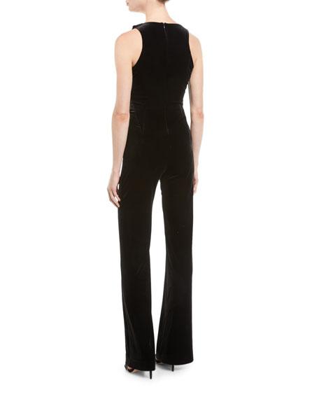 Deep V Faux-Wrap Sleeveless Velvet Flared-Leg Jumpsuit w/ Fringe Detail
