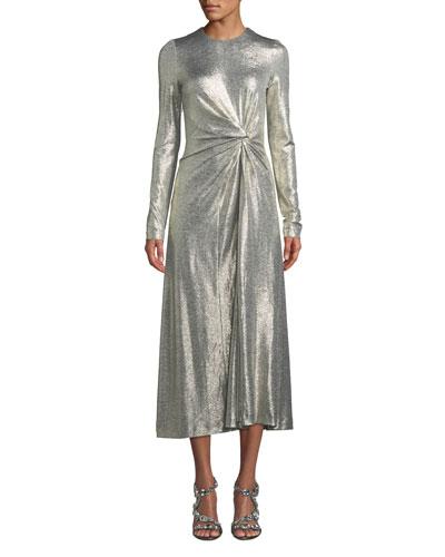 Jewel-Neck Long-Sleeve Gathered-Waist Textured Metallic Jersey Cocktail Dress