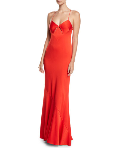 Diamond-Cutout V-Neck Cami-Straps Satin Back Crepe Evening Gown