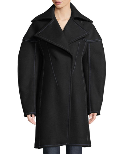Full-Sleeve Structured Wool Coat w/ Seaming Details