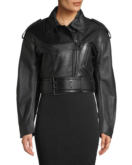 Cropped Soft Leather Moto Jacket