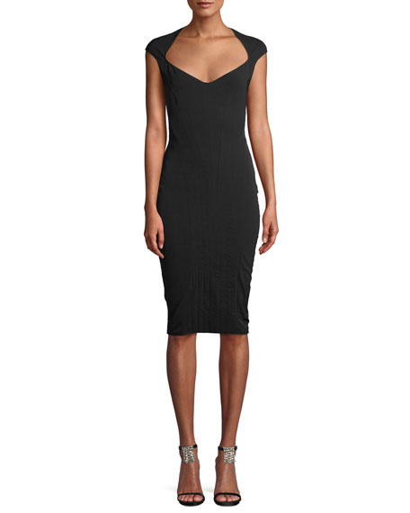 MUGLER WIDE-NECK CAP-SLEEVE FITTED STRETCH-TWILL DRESS