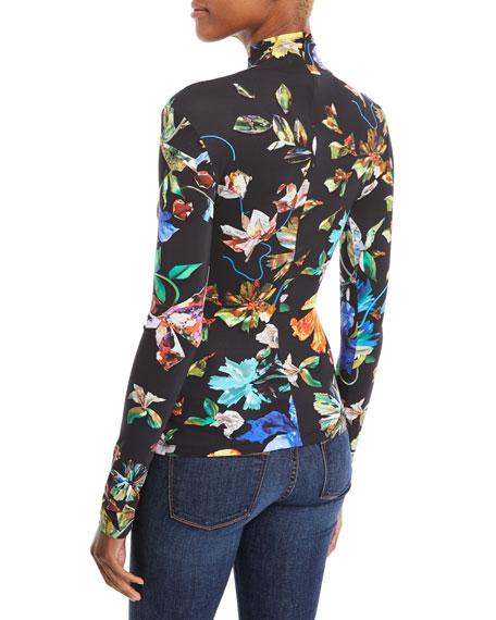 Turtleneck Long-Sleeve 3-D Collage Floral-Print Jersey Top