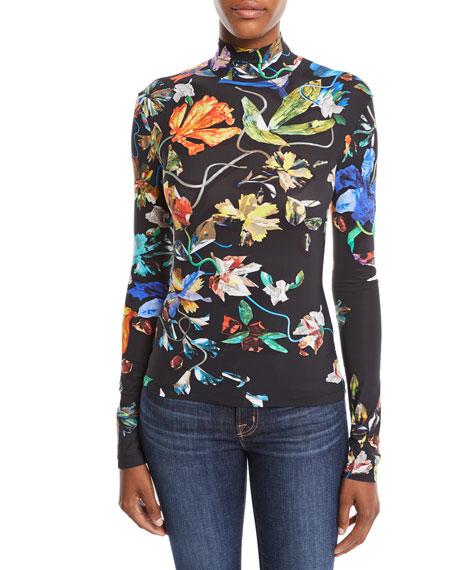 Turtleneck Long-Sleeve 3-D Collage Floral-Print Jersey Top in Black