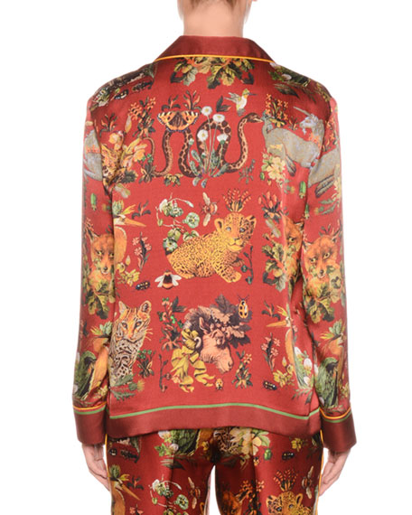 Button-Front Long-Sleeve Animal-Print Needlepoint Silk Shirt