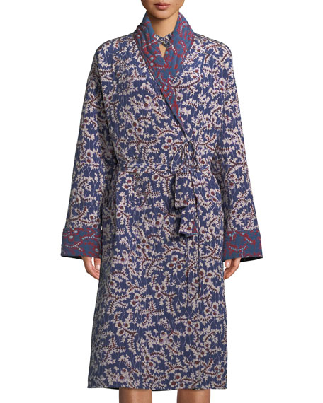 Figue Karina Spanish-Ivy Reversible Silk Robe Coat