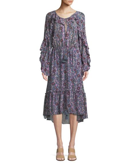 Figue Elodie Tassel-Tie Bell-Sleeve Ruffle Floral-Print Crepe