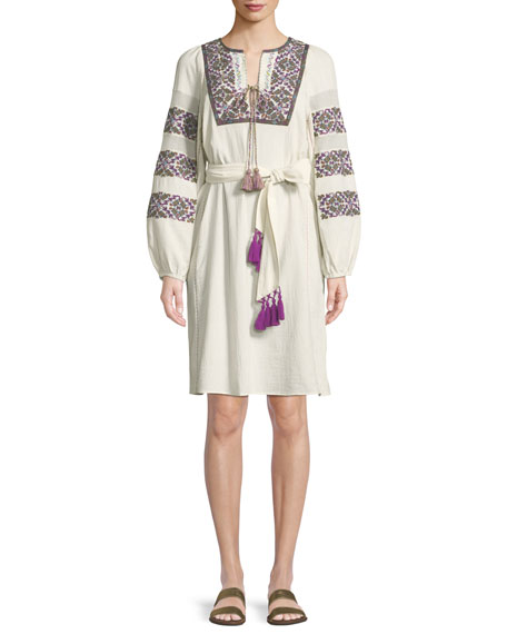 Figue Joni Split-Neck Bell-Sleeve Embroidered Tunic w/ Tassels