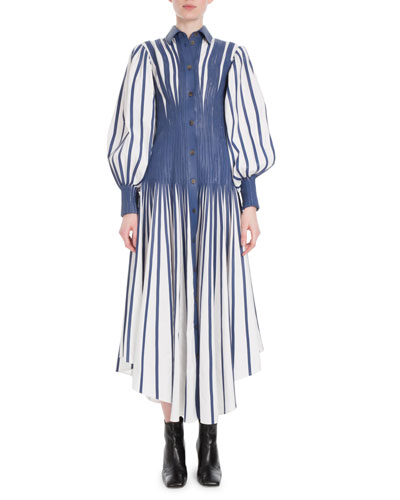 Long Puff-Sleeve Fitted-Waist Long Poplin Shirtdress w/ Leather Stripes
