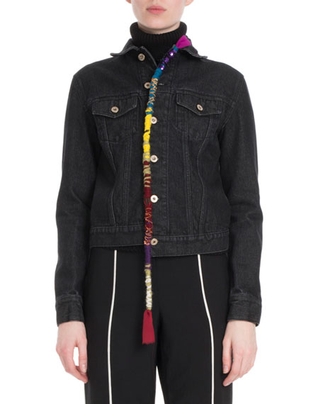 Button-Front Denim Jacket W/ Embroidered Rope Detail in Black
