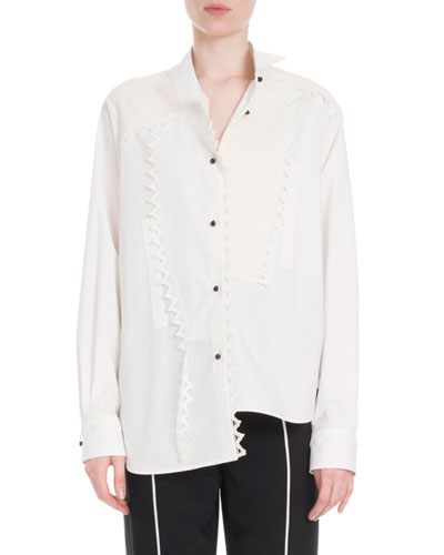 Button-Front Long-Sleeve Cotton Shirt w/ Lace Trim