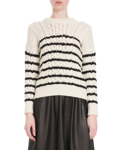 CREWNECK STRIPED CABLE-KNIT WOOL SWEATER