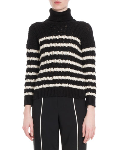 Turtleneck Striped Cable-Knit Sweater