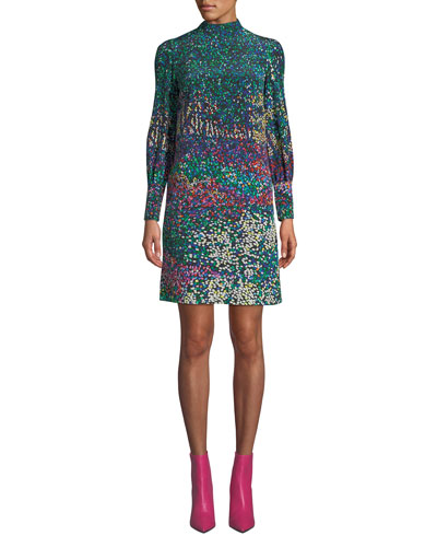 Micro-Dotted Long-Sleeve Cocktail Dress