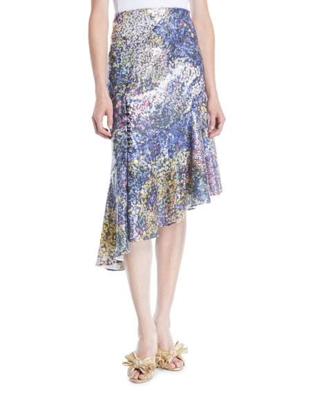 High-Waist Printed Sequin Asymmetric Midi Skirt