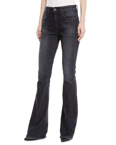 Cher High-Rise Curved Seam Flared-Leg Jeans