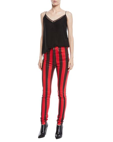 High-Waist Striped Skinny Coated Denim Pants
