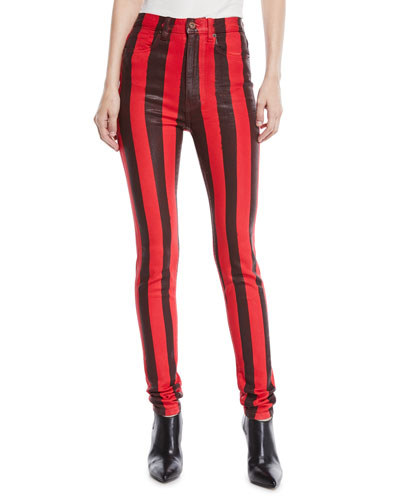 High-Waist Striped Skinny Coated Denim Pants