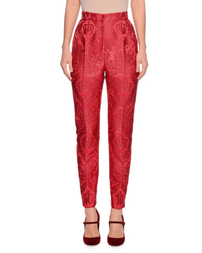 High-Waist Cherub-Jacquard Skinny Pants