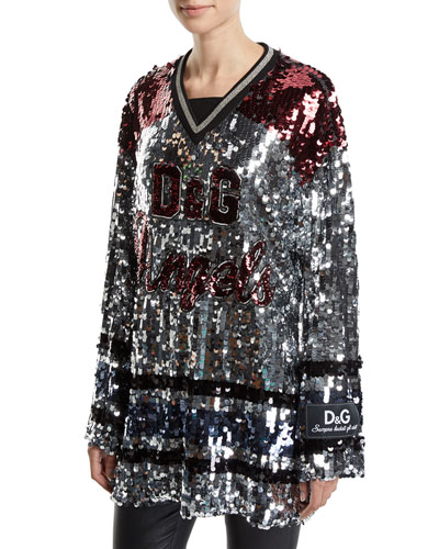 Long-Sleeve Sequined Jersey Tunic