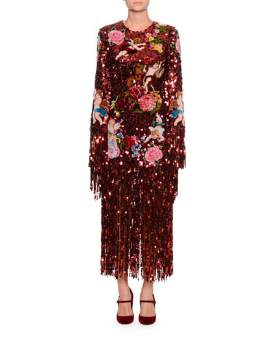 a3c8e42ef54 Long-Sleeve Paillette Sequin Rose-Patch Fringe-Bottom Evening Dress Quick  Look. Dolce   Gabbana