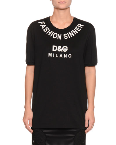 Fashion Sinner Crewneck Short-Sleeve Jersey T-Shirt