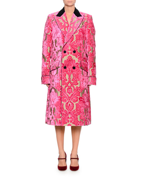 Double-Breasted Damask Velvet Jacquard Mid-Calf Coat