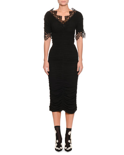 Short-Sleeve V-Neck Ruched Cocktail Dress w/ Lace Trim