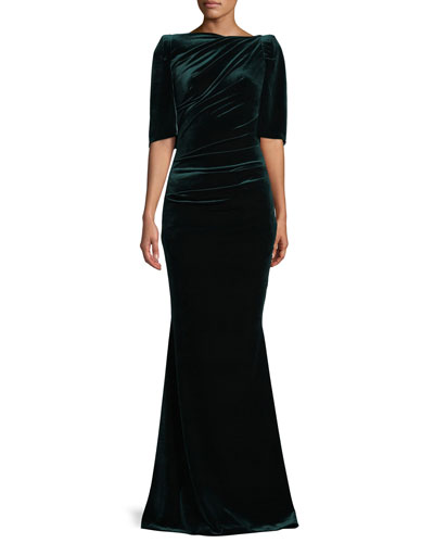 Lobata Cape-Back High-Neck Elbow-Sleeve Velvet Trumpet Evening Gown