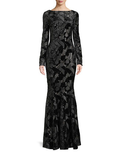 Lorena Long-Sleeve High-Neck Sequined Stretch-Velvet Evening Gown