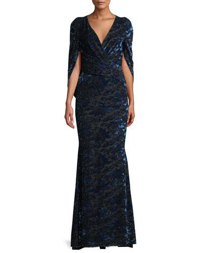 Rosin Surplice Tapestry Velvet Jacquard Mermaid Evening Gown