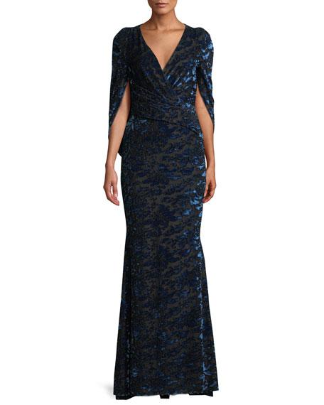 TALBOT RUNHOF Rosin Surplice Tapestry Velvet Jacquard Mermaid Evening Gown in Medium Blue