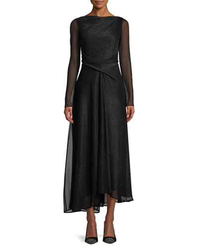 High-Neck Long-Sleeve Metallic Voile Midi Evening Gown
