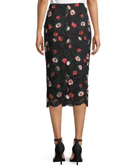 Rose-Embroidered Lace Pencil Midi Skirt