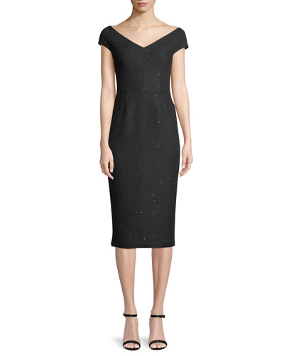 Open-Neck Cap-Sleeve Fitted Sequin Tweed Cocktail Dress