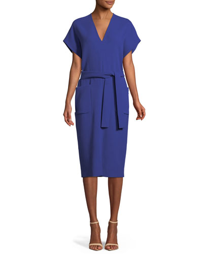V-Neck Short-Sleeve Belted Wool Midi Dress
