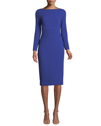 Boat-Neck Long-Sleeve Seamed Fitted Wool Dress