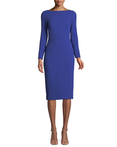 LELA ROSE BOAT-NECK LONG-SLEEVE SEAMED FITTED WOOL DRESS