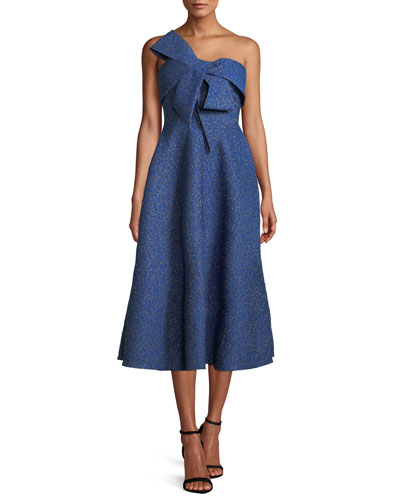 Bow-Front Strapless Fit-and-Flare Brocade Cocktail Dress