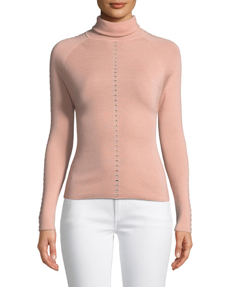 Turtleneck Long-Sleeve Wool Knit Sweater with Eyelet Detail