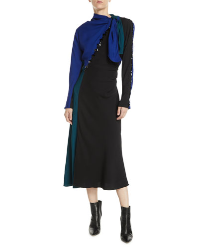 Tie-Neck Long-Sleeve Colorblock A-Line Dress w/ Beading