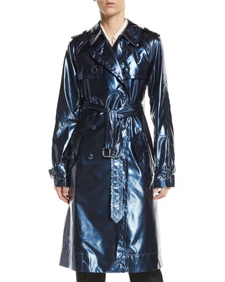 Double-Breasted Belted Shiny Trench Coat
