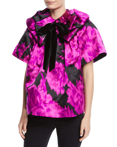 Rosette-Collar Velvet-Bow Carnation-Print Silk Blouse