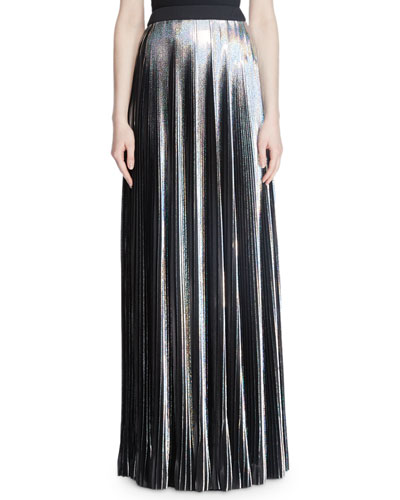 Hologram Plisse Floor-Length Evening Skirt
