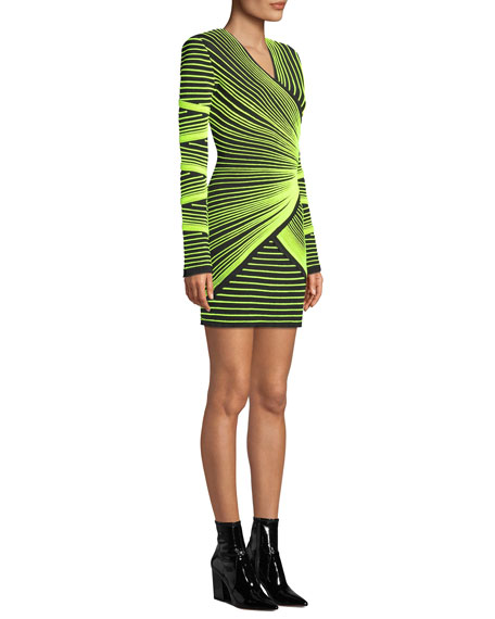 Long-Sleeve V-Neck Embroidered Optical Effect Mini Cocktail Dress