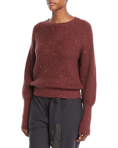 Crewneck Long-Sleeve Ribbed Paillette Pullover Cashmere-Silk Sweater