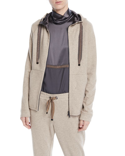 Zip-Front Felpa Cashmere-Cotton Jacket w/ Satin Inner Hood