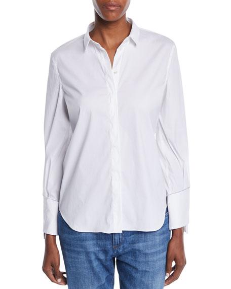 Brunello Cucinelli Button-Front Long-Sleeve Cotton Shirt w/