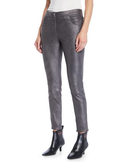 Brunello Cucinelli Metallic-Leather Skinny 5-Pocket Legging