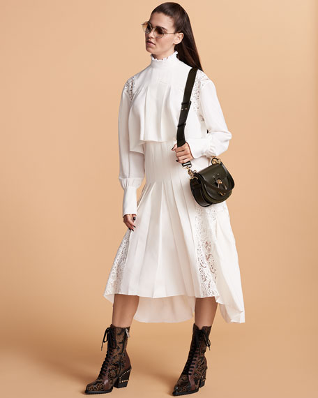 Mock-Neck Long-Sleeve Tiered Button-Back Long Dress w/ Lace Panels